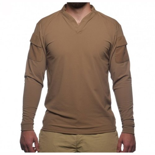 Boss Rugby Shirt Long Sleeve Coyote Brown Med